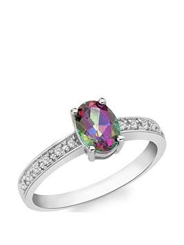 Love GEM Love Gem 9Ct White Gold Mystic Topaz Solitaire Ring With Diamond  ... Picture