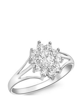 Love GOLD Love Gold 9Ct White Gold Cubic Zirconia Flower Cluster Ring Picture
