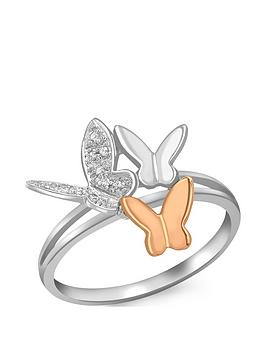 Love DIAMOND Love Diamond 9Ct White & Rose Gold Diamond Set Butterfly Ring Picture
