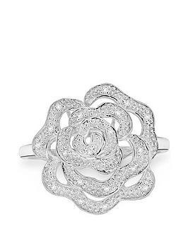 Love DIAMOND Love Diamond 9Ct White Gold Diamond Set Rose Ring Picture