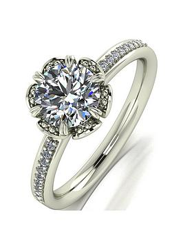 moissanite-9ct-white-gold-12ct-eq-moissanite-solitaire-flower-ring-with-set-shoulders