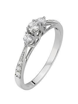 Love DIAMOND Love Diamond 9Ct White Gold 23 Point Three-Stone Diamond Ring  ... Picture
