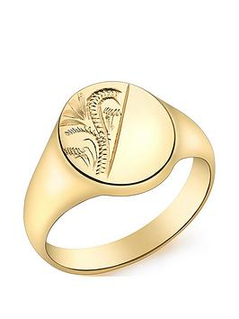 Love GOLD Love Gold 9Ct Gold Oval Half Engraved Pattern Signet Ring Picture