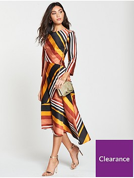 warehouse-honey-stripe-midi-dress-mustard