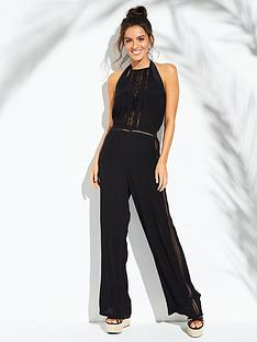 750a98a92e6 V by Very Lace Insert Halter Beach Jumpsuit - Black