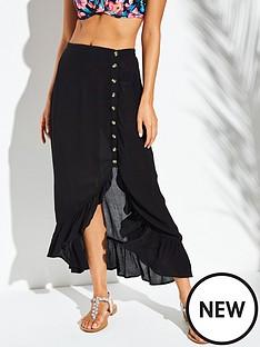 v-by-very-button-through-side-maxi-beach-skirt-black