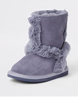 river-island-mini-girls-blue-suede-faux-fur-lined-ankle-boots