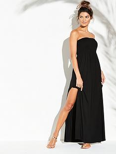 v-by-very-jersey-shirred-bandeau-beach-maxi-dress-black