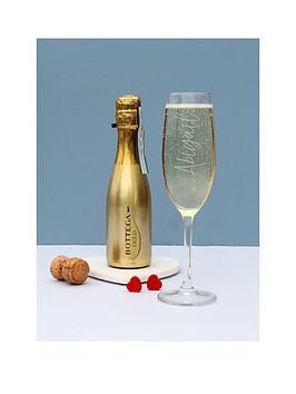 Very Personalised Champagne Glass With 200Ml Bottega Prosecco Picture