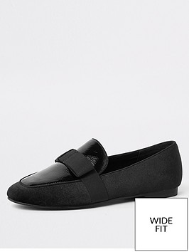 river-island-river-island-wide-fit-patent-bow-mix-loafer-black