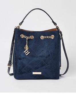 river-island-chain-top-bucket-bag-navy