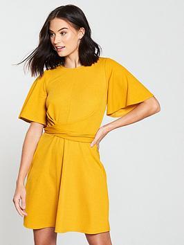 v-by-very-tie-waist-skater-dress-mustard