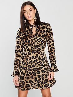 v-by-very-leopard-choker-dress-print