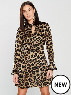v-by-very-leopard-choker-dress-print