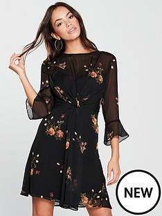 v-by-very-printed-tie-front-dress-black