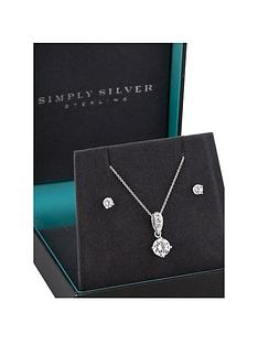 jon-richard-simply-silver-sterling-silver-cubic-zirconia-solitaire-pendant-earring-set