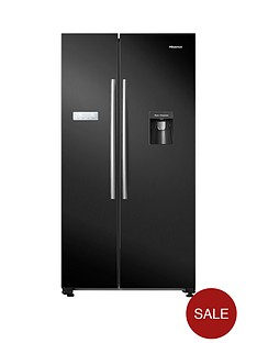 hisense-rs741n4wb11-90cmnbspwide-total-no-frost-american-style-fridge-freezer-with-non-plumbed-water-dispenser-black