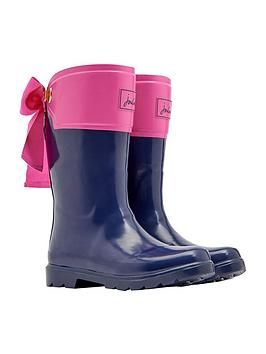joules-girls-bow-wellies-navypink