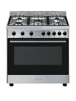 smeg-b90gvxi9-90cmnbspwide-stainless-steel-single-cavity-gas-range-cooker