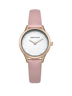 karen-millen-karen-millen-silver-and-rose-gold-crystal-set-dial-pink-leather-strap-ladies-watch
