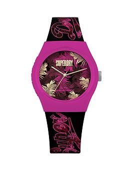 superdry-black-pink-and-gold-fern-print-dial-black-and-pink-fern-print-silicone-strap-ladies-watch