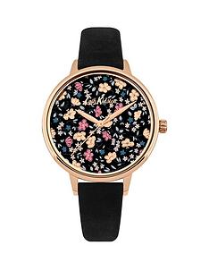 cath-kidston-eiderdown-ditsy-floral-print-gloss-image-dial-black-suede-leather-strap-ladies-watch