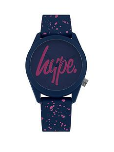 hype-hype-blue-and-pink-logo-dial-blue-and-pink-print-silicone-strap-watch