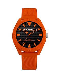 superdry-superdry-black-with-orange-detail-orange-silicone-strap-mens-watch