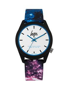hype-white-and-blue-detail-dial-space-print-silicone-strap-watch