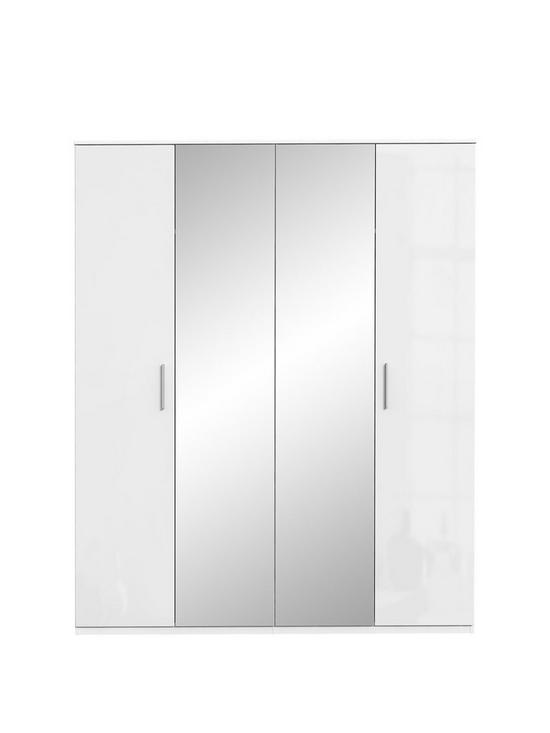 Westbury High Gloss 4 Door Mirrored Wardrobe by