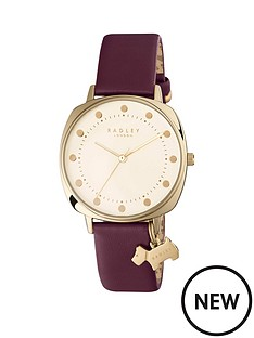 radley-radley-cream-dial-with-gold-dog-charm-berry-leather-strap-ladies-watch