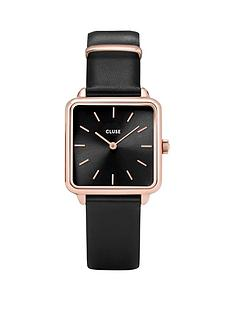 cluse-la-garconne-black-and-rose-gold-square-dial-black-leather-strap-ladies-watch