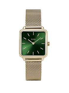 cluse-cluse-la-garconne-green-and-gold-square-dial-gold-mesh-stainless-steel-strap-ladies-watch