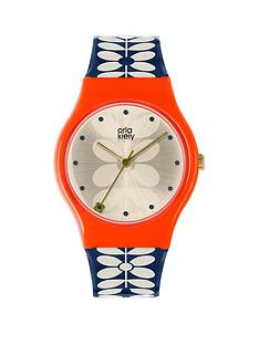 orla-kiely-orla-kiely-bobby-champagne-and-pink-dial-blue-and-white-stem-print-silicone-strap-ladies-watch