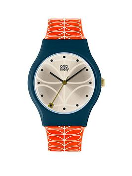 orla-kiely-bobby-champagne-and-blue-dial-pink-stem-print-silicone-strap-ladies-watch