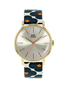 orla-kiely-patricia-champagne-gold-dial-red-white-and-blue-poppy-print-leather-strap-ladies-watch