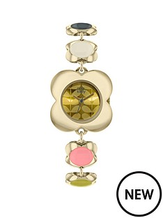 orla-kiely-poppy-gold-dial-with-gold-and-coloured-poppy-shaped-stainless-steel-bracelet-ladies-watch