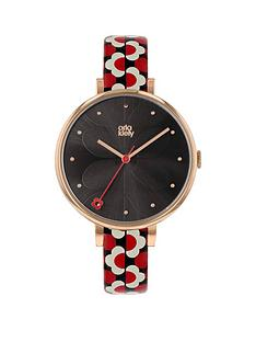 orla-kiely-ok2196-ivy-black-and-rose-gold-dial-black-white-and-red-slim-leather-strap-ladies-watch