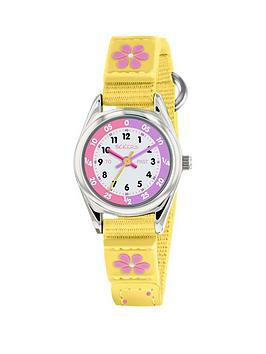 Tikkers Tikkers Tikkers White And Pink Time Teller Dial Yellow Fabric  ... Picture
