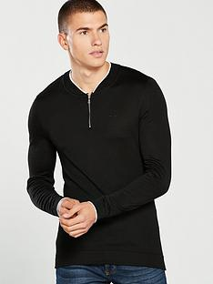 river-island-muscle-fit-zip-front-baseball-top-black