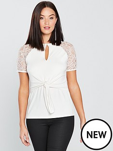 v-by-very-lace-knotted-top-ivory
