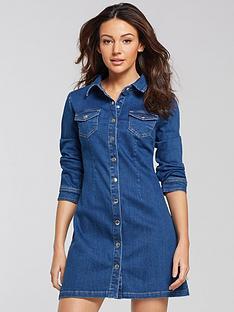 michelle-keegan-button-through-denim-dress-blue