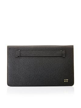 HA Designs Ha Designs Personalised Initial Leather Black Clutch Bag - Black Picture