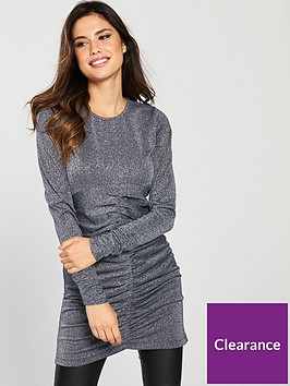 v-by-very-glitter-longline-ruched-top-silver