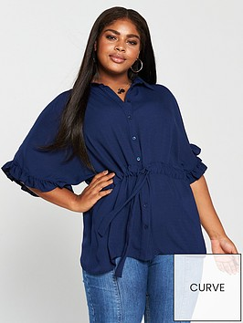 v-by-very-curve-ruffle-sleeve-channel-waist-blouse--nbspnavy