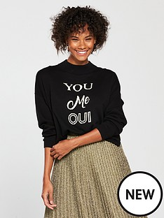 whistles-you-me-oui-logo-sweater-black