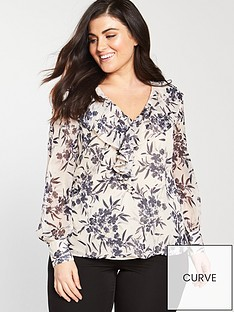 v-by-very-curve-ruffle-detail-printed-blouse-print