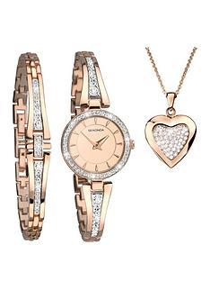 sekonda-sekonda-rose-gold-and-crystal-set-dial-rose-gold-crystal-set-half-bangle-ladies-watch-with-matching-bracelet-ad-heart-locket-necklace-gift-set