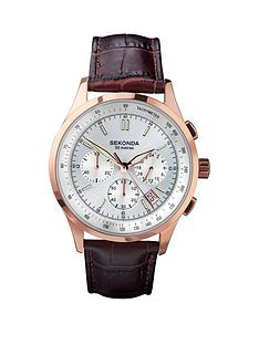 sekonda-sekonda-silver-and-rose-detail-chronograph-dial-brown-leather-strap-mens-watch