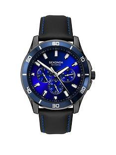 sekonda-sekonda-blue-multi-dial-black-leather-strap-mens-watch